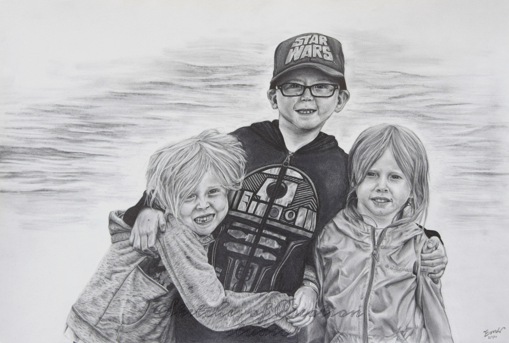 """""""Rebecca, Philip, and Hannah"""" a drawing of three children. 12x18"""" Completed November 2018"""