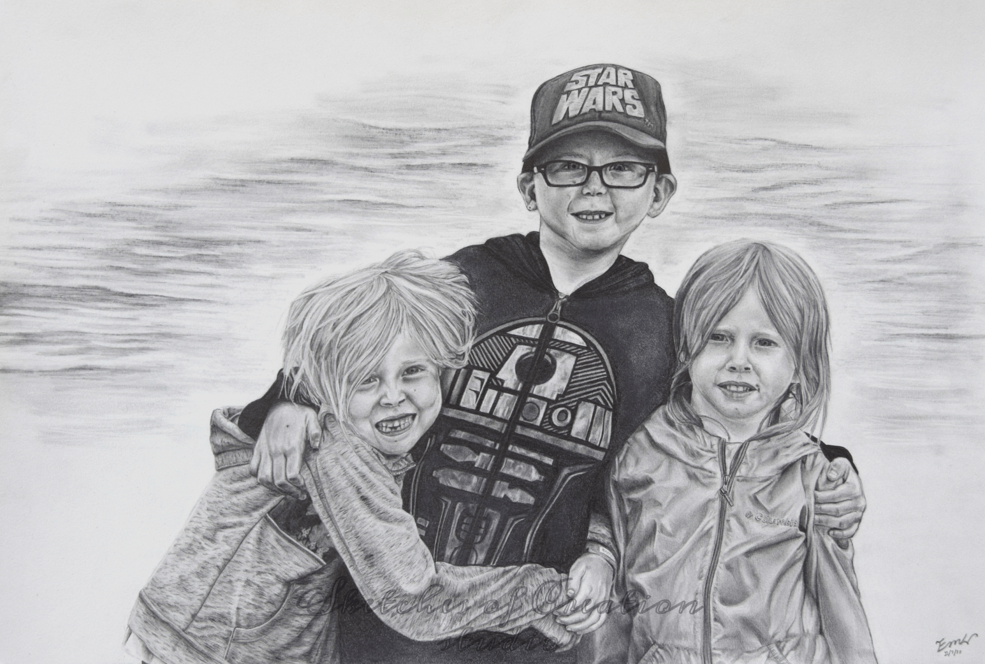 """Rebecca, Philip, and Hannah"" a drawing of three children. 12x18"" Completed November 2018"