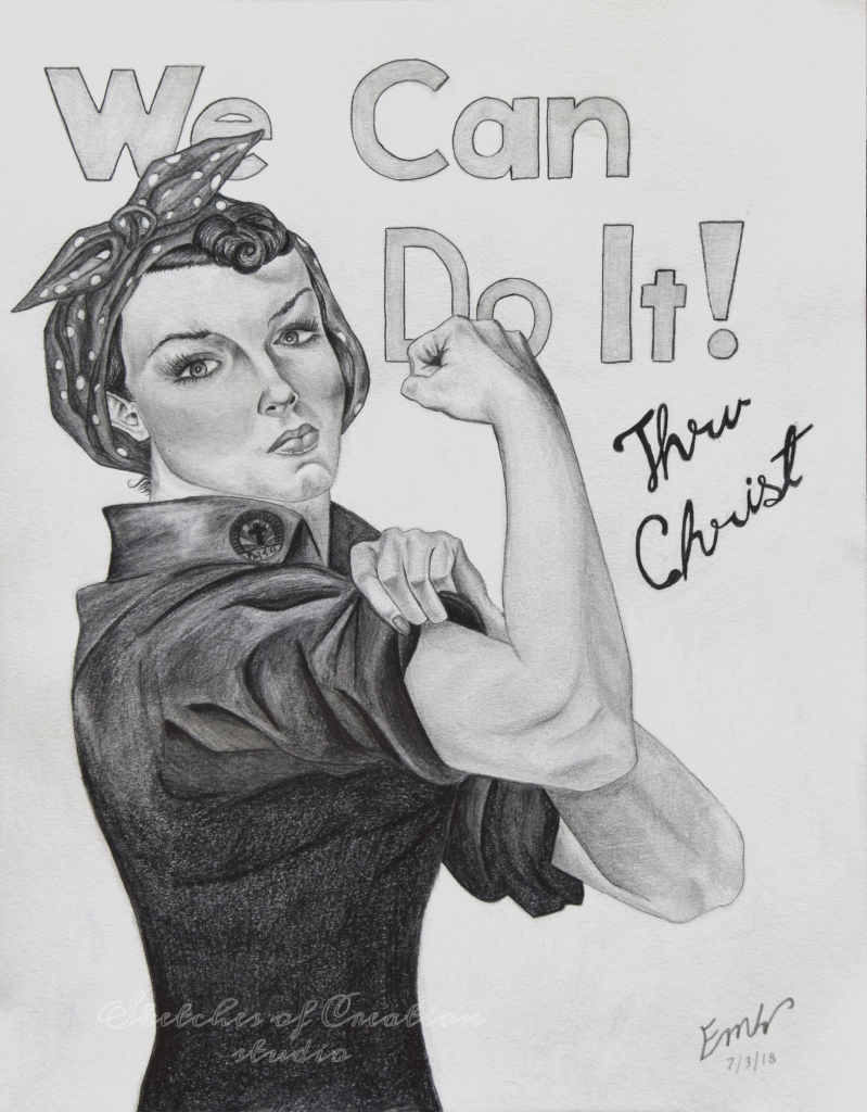 """""""Rosie"""" my version of  J. Howard Miller's """"We Can Do It"""" poster. 8x10"""" Completed July 2018"""