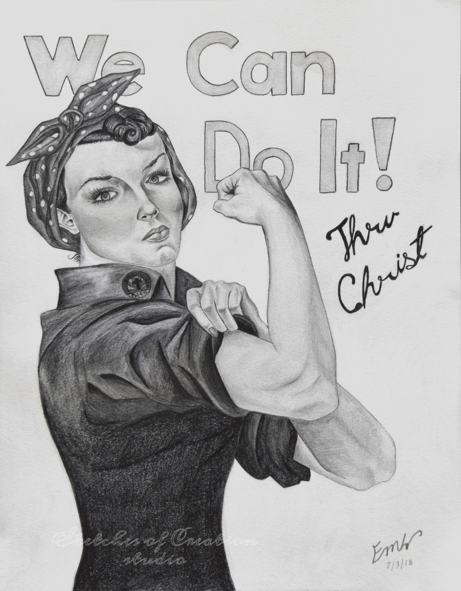 'Rosie' my version of  J. Howard Miller's 'We Can Do It' poster. 8x10 inches. Completed July 2018