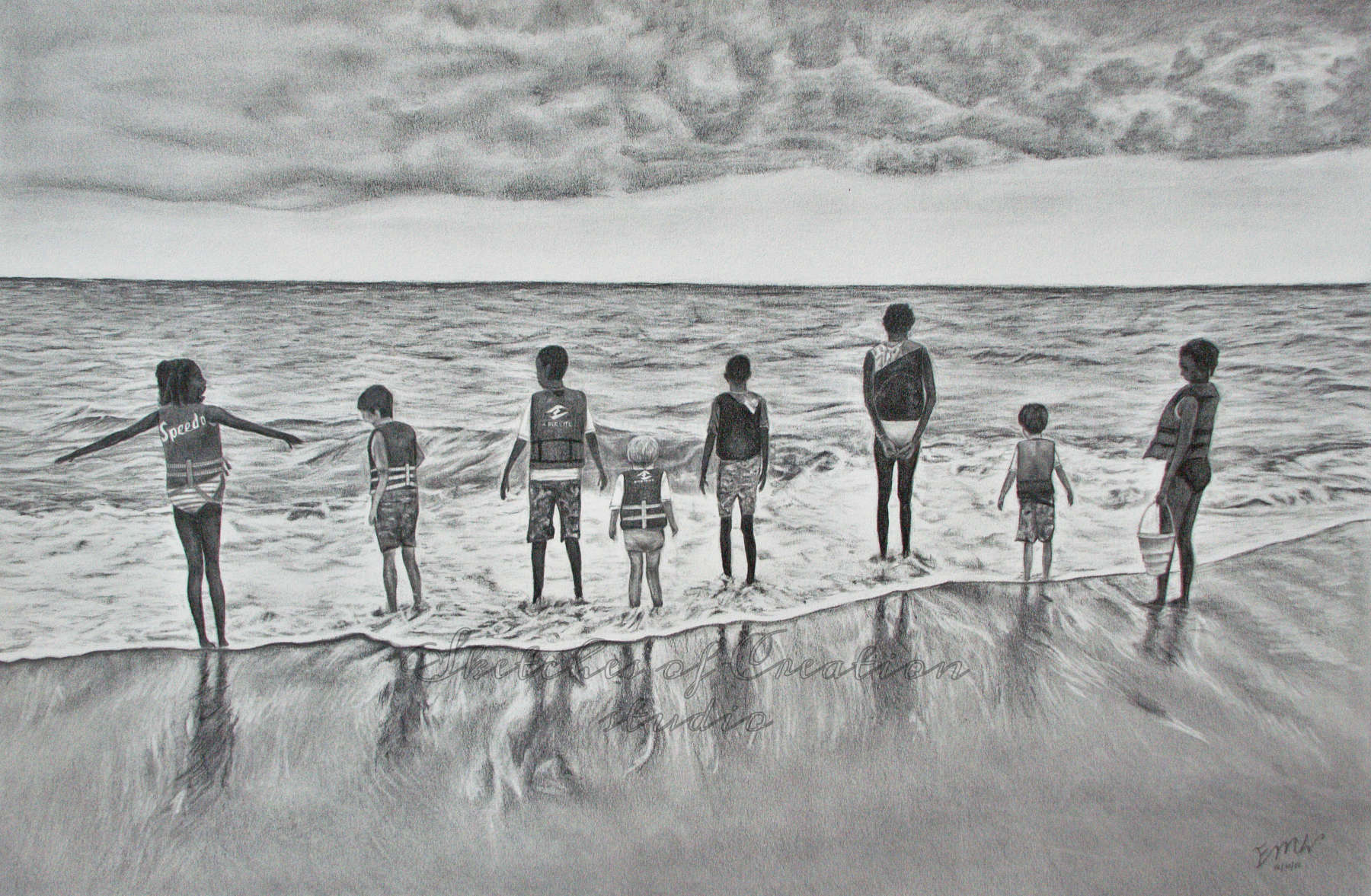 'At the Beach' a drawing of eight kids at the beach. 12x18 inches. Completed December 2019