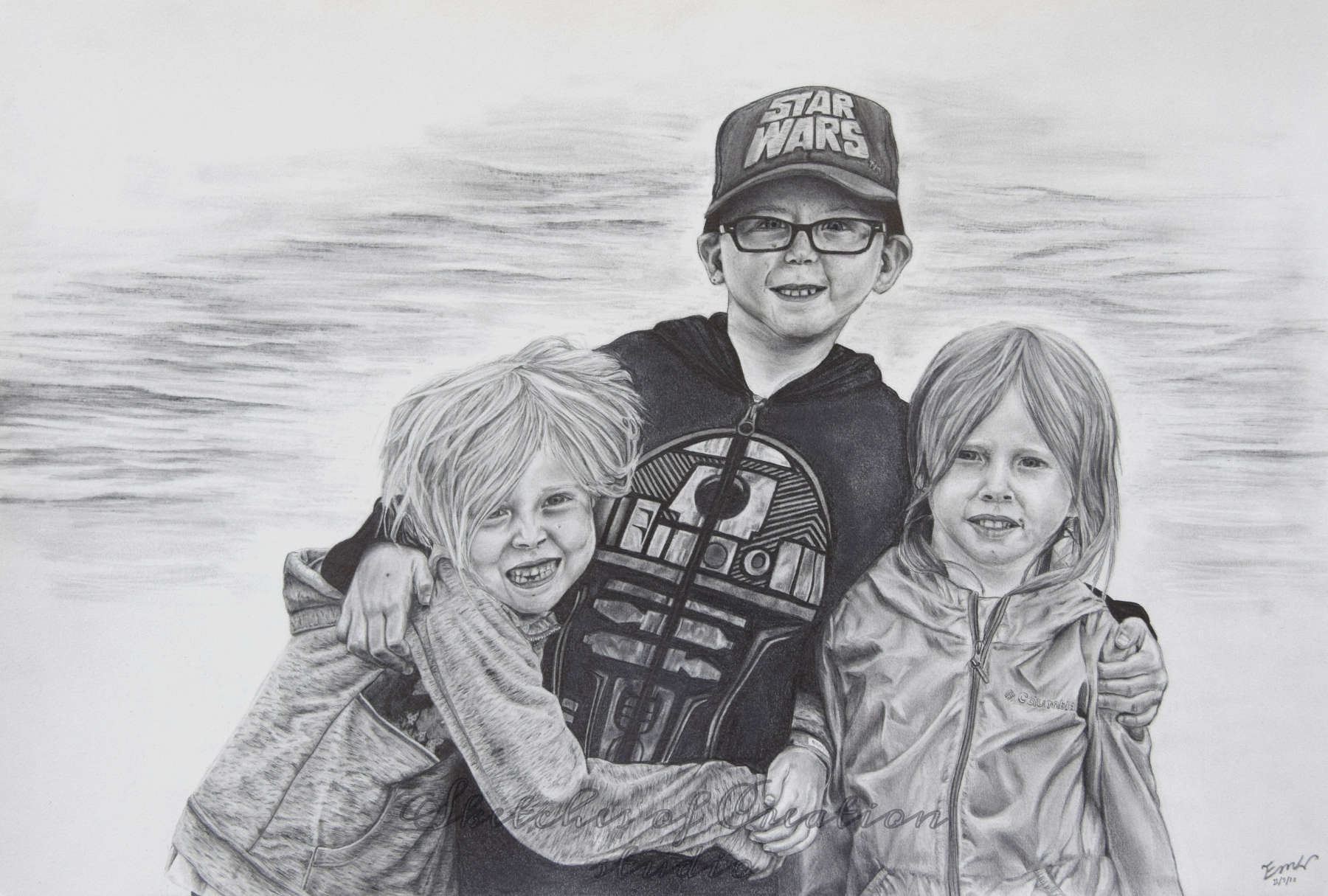 'Rebecca, Philip, and Hannah' a drawing of three children. 12x18 inches. Completed November 2018